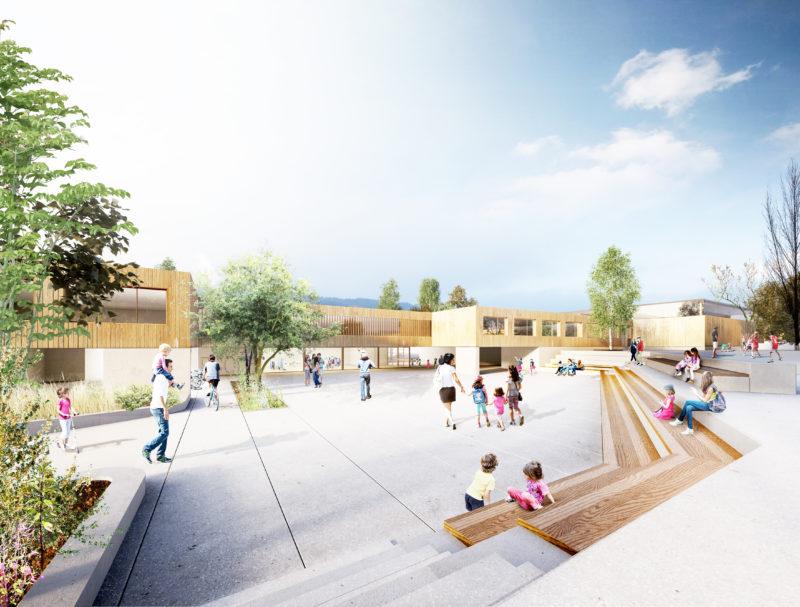 Grupo escolar infantil y primaria. Marly, Suiza